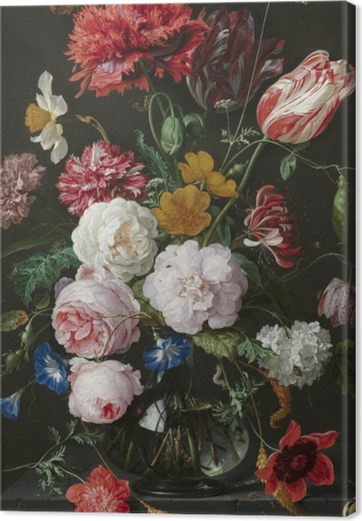 Canvas Jan Davidsz - Still Life with Flowers in a Glass Vase - Reproducties