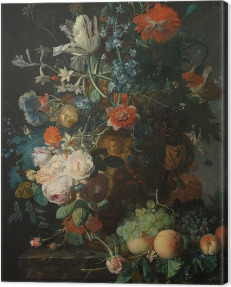 Canvas Jan van Huysum - Still life with flowers - Reproducties