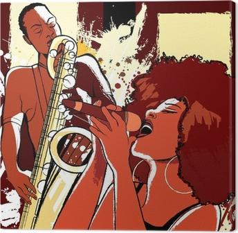 Canvas Jazz-zangeres en saxofonist op grunge achtergrond