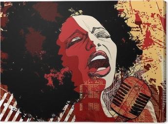 Canvas Jazz-zangeres op grunge achtergrond