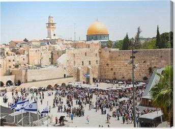 Canvas Joden bidden bij de Westelijke Muur in Jeruzalem, Israël