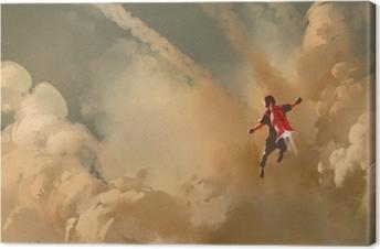 Canvas Jongen vliegen in de bewolkte hemel met jet pack raket, illustratie schilderen