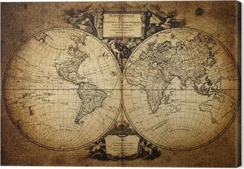 Canvas Kaart van de wereld 1752
