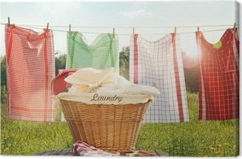 Canvas Katoenen handdoeken drogen aan de waslijn
