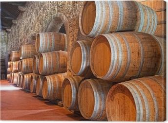 Canvas Kelder met wijnvaten