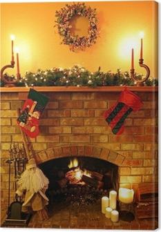 Canvas Kerstmis Fireside