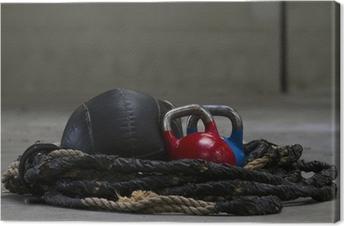 Canvas Kettlebells, touw en een geneesmiddel bal gebruikt voor crossfit