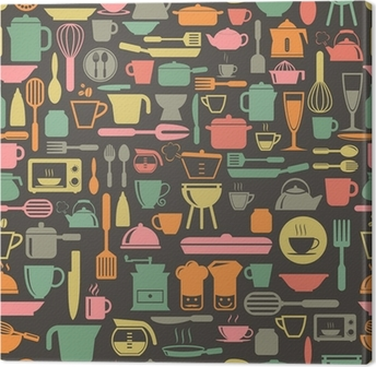 Canvas Keukengereedschap naadloze patroon met retro kleur, vector-formaat