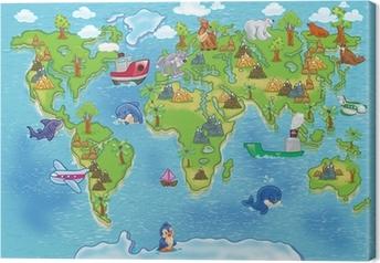 Canvas Kids wereldkaart