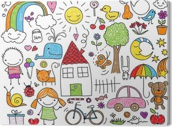 Canvas Kinderen doodle