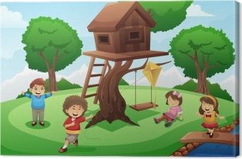 Canvas Kinderen spelen rond boomhut