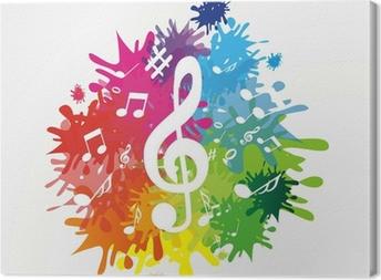 Canvas Kleurrijke achtergrond met notities en treble clef