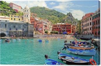 Canvas Kleurrijke haven van Vernazza, Cinque Terre, Italië