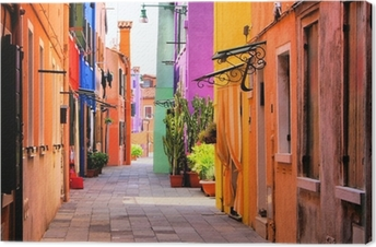 Canvas Kleurrijke straat in Italië