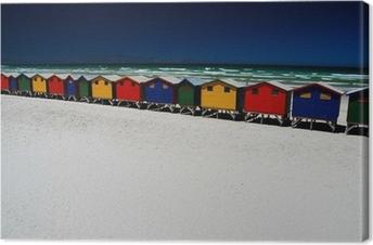 Canvas Kleurrijke strand hutten. Muizenberg, Zuid-Afrika