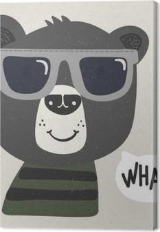 Canvas Koele cartoon beer met een zonnebril