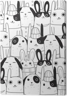 Canvas Konijn naadloos patroon