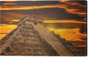 Canvas Kukulkan Piramide in Chichen Itza Site
