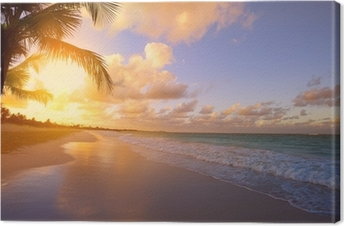 Canvas Kunst Mooie zonsopgang over het tropische strand
