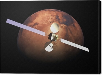 Canvas Kunstmatige Probe baan om bovenstaande Rode Planeet Mars