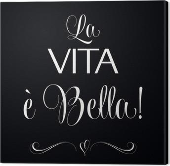 Fotobehang La Vita E Bella Citaat Typografische Achtergrond
