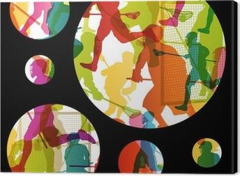 Canvas Lacrossespelers actieve mannen sport silhouetten abstracte backgrou