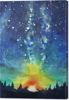 Canvas Landschap. Forest, nachtelijke hemel, sterren, ruimte. Aquarel hand pijn