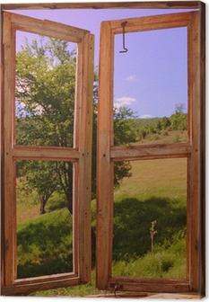 Canvas Landschap gezien door een raam