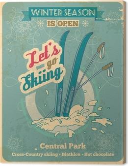Canvas Laten we gaan skiën retro poster