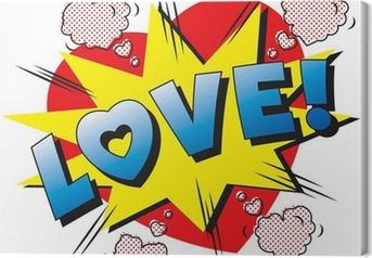 Canvas Liefde cartoon explosie. Falling in love. Liefde vuurwerk.