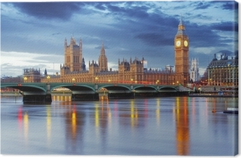 Canvas Londen - Big Ben en huizen van het parlement, UK
