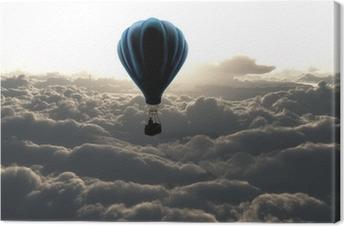 Canvas Luchtballon boven de wolken