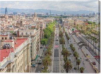 Canvas Luchtfoto van de Passeig de Colom en de skyline van Barcelona, Sp
