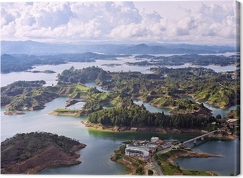 Canvas Luchtfoto van Guatape Lake, Colombia