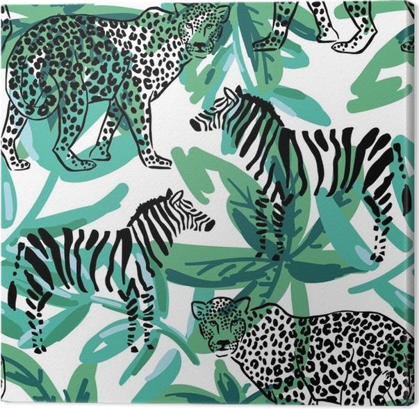 Canvas luipaard zebra op de groene palm verlaat achtergrond vector canvas luipaard zebra op de groene palm verlaat achtergrond vector naadloze patroon populaire afrikaanse dieren safari dieren in het wild illustratie thecheapjerseys Gallery