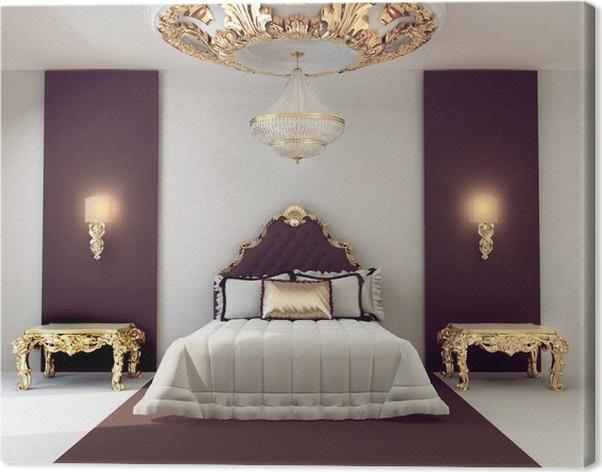Canvas Luxe tweepersoons slaapkamer met gouden meubilair in ...