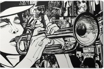 Canvas Man spelen trompet in een rosse buurt