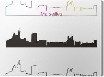 Canvas Marseille skyline lineaire stijl met regenboog