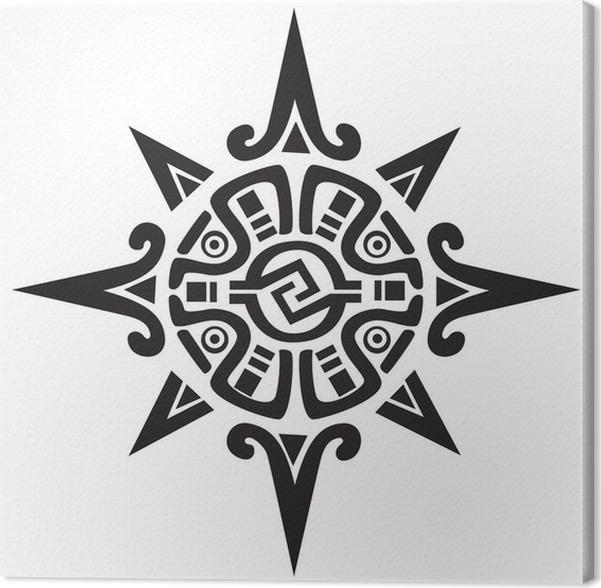 Canvas Maya Of Inca Symbool Van Een Zon Of Een Ster Pixers We