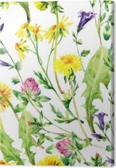 Canvas Meadow aquarel wilde bloemen naadloos patroon