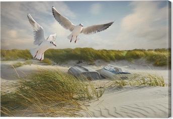 Canvas Meeuwen, duinen en vissersboten