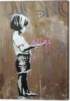 Canvas Meisje geschilderd op een muur, Berlijn, Duitsland.
