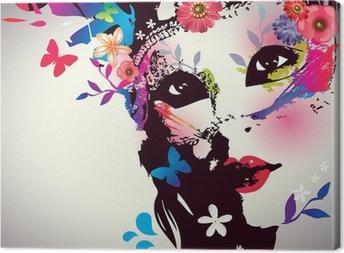 Canvas Meisje met masker / Vector illustratie