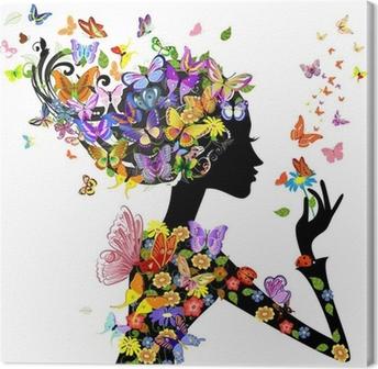 Canvas Meisje, mode, bloemen met vlinders