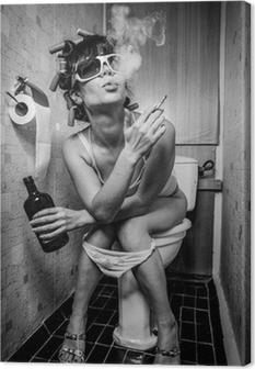 Canvas Meisje zit in een toilet