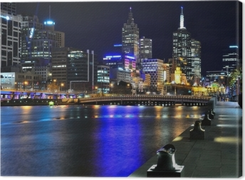 Canvas Melbourne Skyline mit und Yarra River