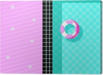Canvas Memphis stijl ontwerp met zwembad en zweven pictogrammen, kleurrijk ontwerp. vectorillustratie
