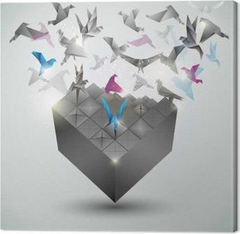 Canvas Metamorphosis.Cube wordt transformeren in een zwerm vogels.