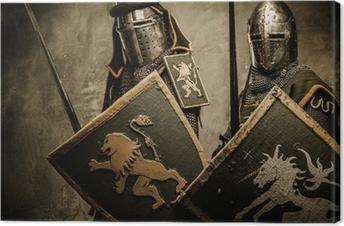 Canvas Middeleeuwse ridders op een grijze achtergrond.