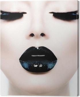 Canvas Mode Beauty Model Meisje met zwarte make-up en lang Lushes